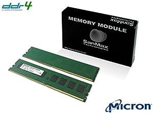 デスクトップ用メモリ Micron DRAM搭載 288pin DDR4-2400 CL17 16GB(8GB x 2枚)セット 1.2volt JEDEC準拠 SMD4-U16G48M-24R-D