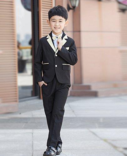 男の子スーツ7点セット 黒 発表会・結婚式・卒園式・入学式 子供服 フォーマル タキシード  キッズ 男児 七五三  ボーイズ服 (130サイズ)