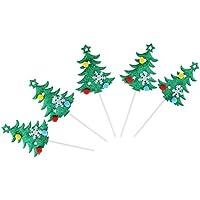 Perfk 煌き クリスマスデザイン 雪片/ポンポン 付き カップケーキトッパー ケーキ装飾 クリスマス 雰囲気 溢れる 5個入り