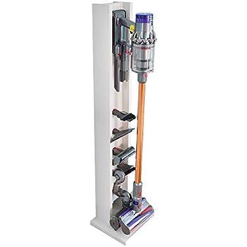 v10シリーズ専用コードレス掃除機スタンド ダイソン 6穴 コードレスクリーナー 壁掛け 充電 スタンド ネジ付き 掃除機収納庫 (ホワイト木目)