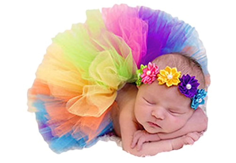 Little Kiddo Newborn Baby Girls Princess Photography Prop Rainbow Tutu Skirt with Flower Headband Photo Props Outfits by Little Kiddo