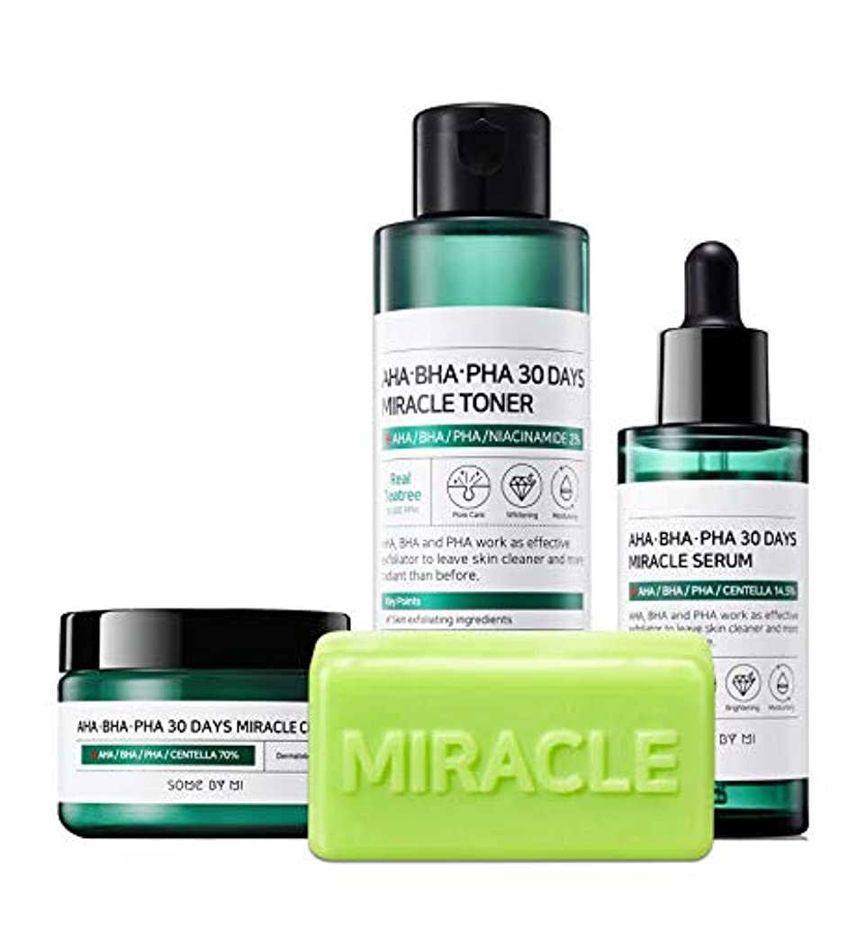 グラフテクスチャー保持するSomebymi (サムバイミー) AHA BHA PHA Miracle Series Full Set 4 Pcs (Soap, Toner, Serum, Cream) Anti-acne Exfoliation...