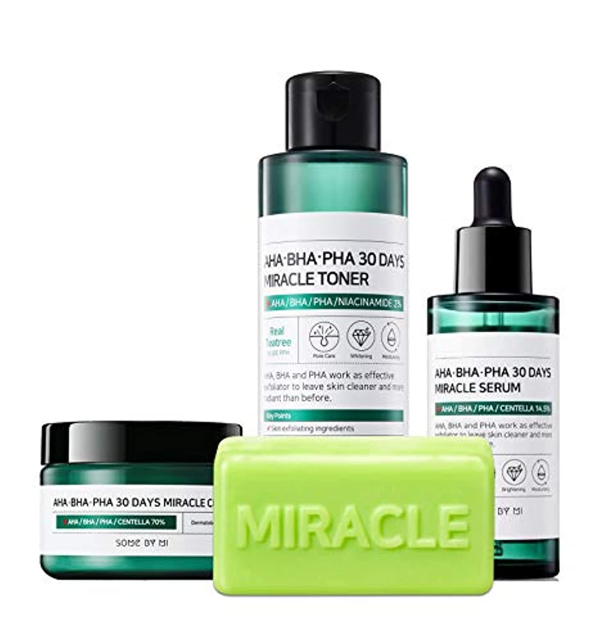 におい何狂ったSomebymi (サムバイミー) AHA BHA PHA Miracle Series Full Set 4 Pcs (Soap, Toner, Serum, Cream) Anti-acne Exfoliation Hydration Brightening, Skin Barrier & Recovery, Soothing with Tea Tree [並行輸入品]
