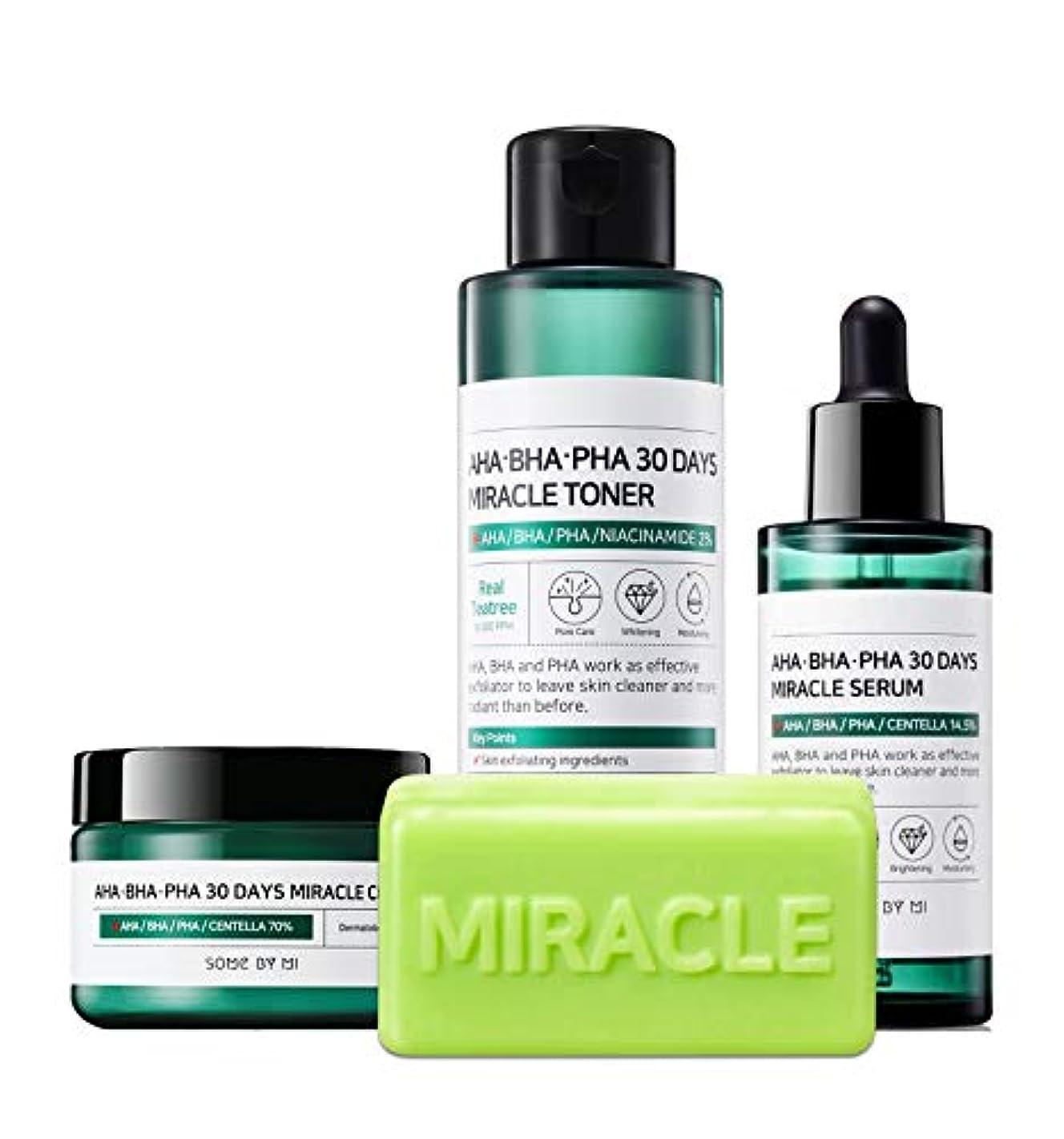 スクラッチ本体主張するSomebymi (サムバイミー) AHA BHA PHA Miracle Series Full Set 4 Pcs (Soap, Toner, Serum, Cream) Anti-acne Exfoliation...