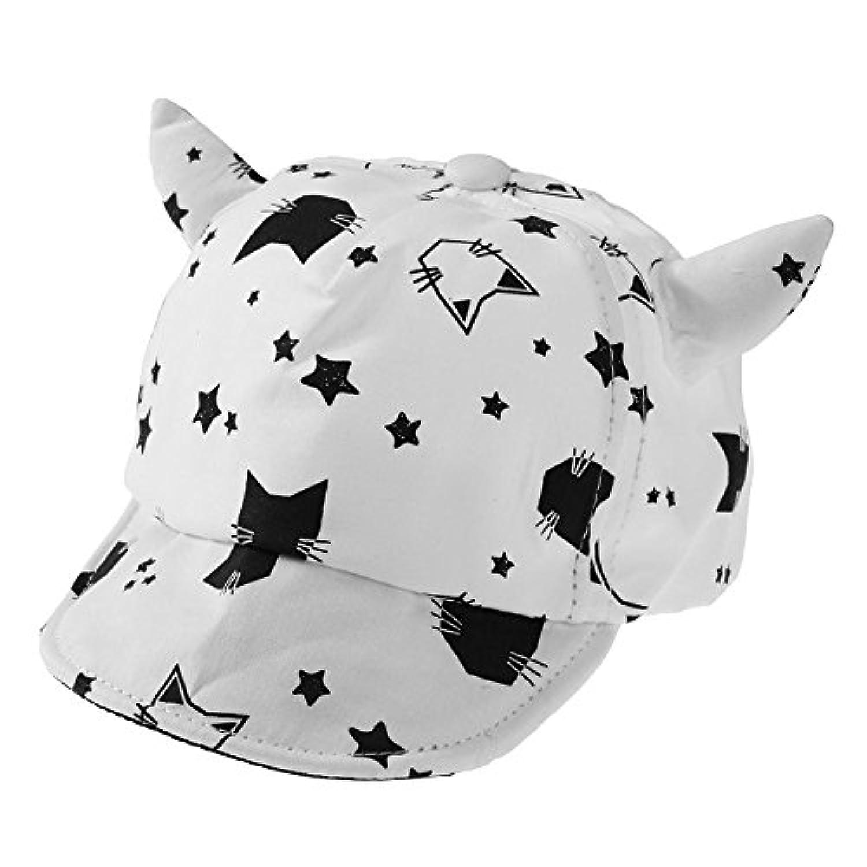 Bestjpshop キャップ キッズ帽子 野球帽 男女兼用 カジュアル オールシーズン適用 子供用 可愛い猫 耳付き ホワイト