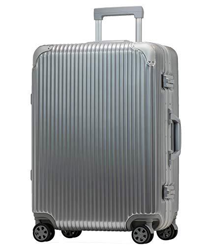 [プロエボ] スーツケース フレームキャリー 静音 ダブルキャスター 8輪 軽量 アルミフレーム TSAロック キャリーケース キャリーバッグ (Mフレーム(約50L), シルバー)