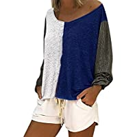 007XIXI Plus Size Womens Tops Amazon Choice Women Casual Loose Round Neck Long Sleeve Color Matching Shirts Blouses