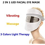 LEDフォトンビューティーマスク、家庭用Ledビューティーマスク、ホットコンプレックス振動マッサージアイマスク3色、コラーゲン、アンチエイジング、しわ、瘢痕