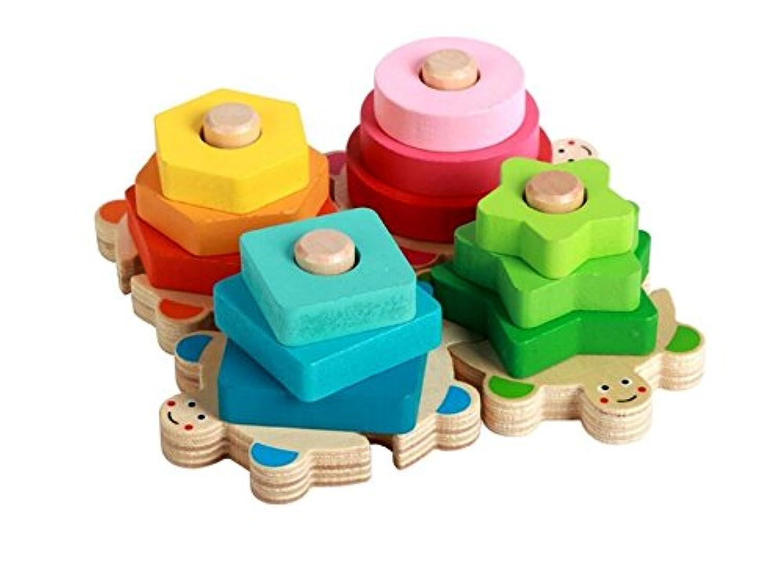 HuaQingPiJu-JP 教育クリエイティブ木の色と形の幾何学的なソーティングボード