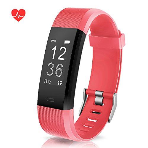 Muziliスマートウォッチ スマートブレスレット Fitness Trackerスポーツスマートウォッチ 睡眠管理/着信電話通知/活動量計/遠隔カメラなどの機能 男女兼用 iOS&Android対応 日本語取扱説明書付き(赤)