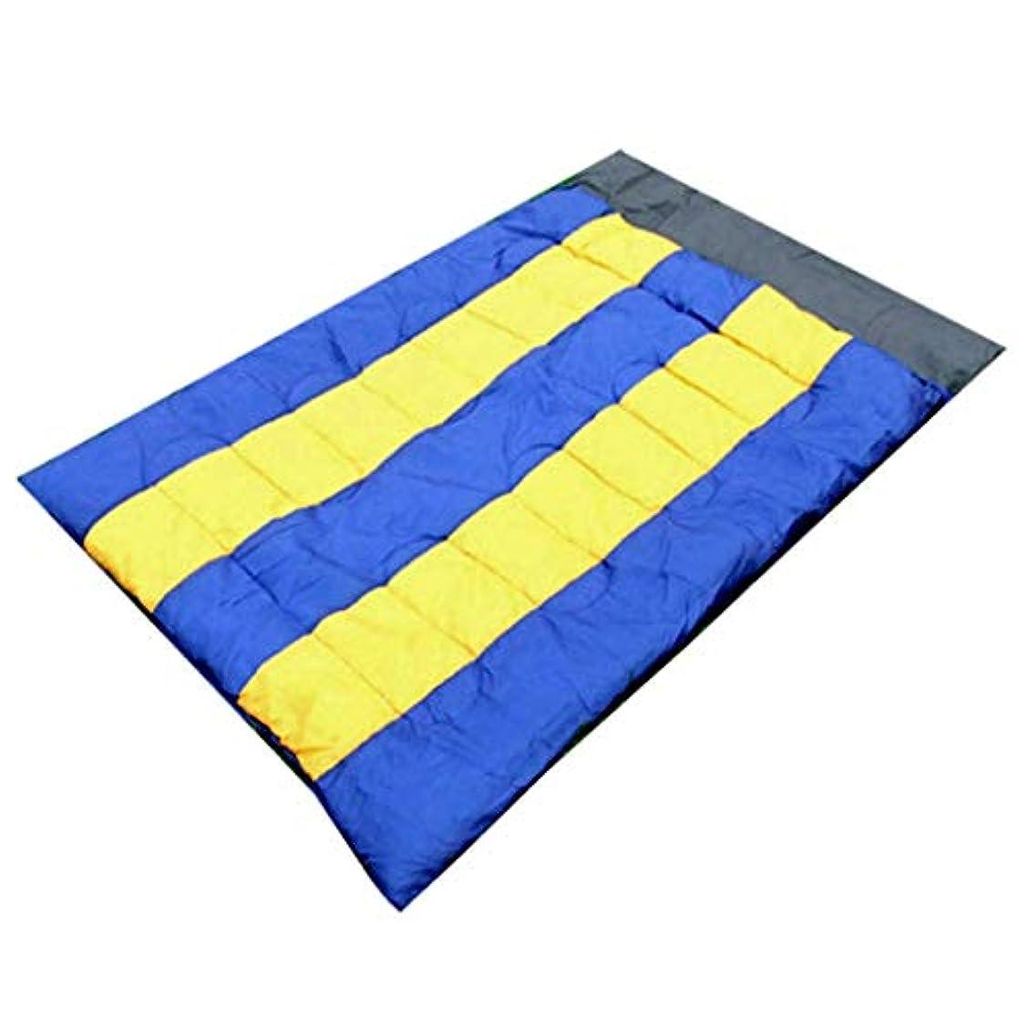 はねかける雪の強制的CATRP 軽量 エンベロープ 寝袋 アウトドア 旅行 カップル 特大 ダブル キャンプ (色 : Blue+Yellow)