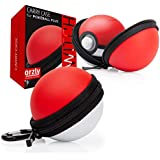 Orzly Carry Case for Nintendo Switch Poke Ball Plus Controller (Protective Hard Zip Pouch with Keychain Carabiner Belt Clip, and Inner Pocket for Neck Strap) 1x Travel Case in Red/White Poke Style