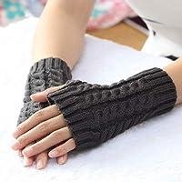 SHiqu Women Sleeve Twist Arm Knitted Short Arm Warm Fingerless High The Cuff Gloves Keep Winter Elastic Solid Wool Warmers Arm, 1 Pair(Black)(Coffee)(Khaki)(Gray)(White) (Color : Dark Grey)
