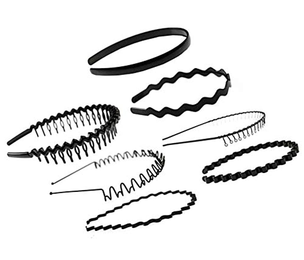 軽蔑するベーコン机7個ブラックメタル/プラスチックヘアフープヘアバンドガールメンズヘアアクセサリー