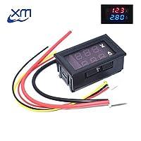 """DC 0-100V 10A Digital Voltmeter Ammeter Dual Display Voltage Detector Current Meter Panel Amp Volt Gauge 0.28"""" Red Blue LED"""