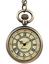 [ワミナー]シンプル アンティーク 懐中時計 メンズ レディース 【正規品】 チェーン 蓋付き 時計 ローマ数字 ナースウォッチ フック(ゴールド)