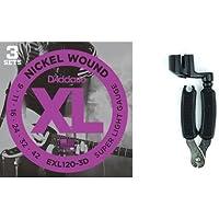ダダリオ エレキギター弦 ニッケル SuperLight .009-.042 EXL120-3D 3set入りパック + Planet Waves ストリングワインダー ギター用 ニッパー付き DP0002セット