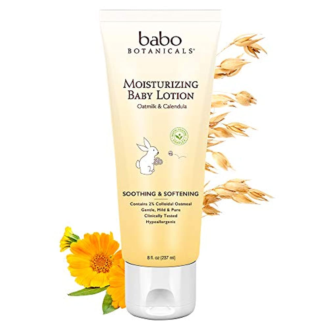 小石陰気クリップBabo Botanicals Oatmilkカレンデュラ保湿ベビーローション、 - スージング敏感肌のためのベストのベビーローション。アトピー性皮膚炎を和らげるのに役立ちます。ナチュラルオーツとオーガニックカレンデュラ...