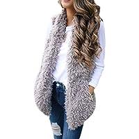 Macondoo Womens Fleece Sleeveless Plush Winter Open Front Jacket Down Vest