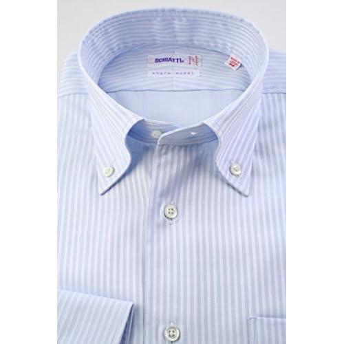(スキャッティ) SCHIATTI ボタンダウン ドレスシャツ 綿100% サックスブルー無地 ドビーストライプ 80番手双糸 (細身) bd4194-4185