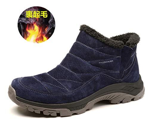 サーラマン ムートンブーツ メンズ/レディース スノーブーツ 防水ショートウィンターブーツ 軽量 雪靴防寒 裏起毛 (25.5cm, blue)