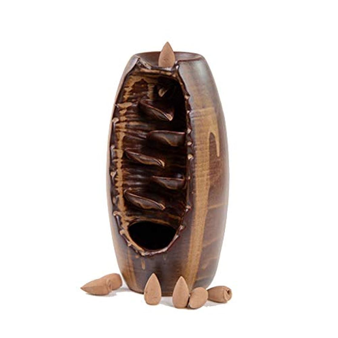 アクティブ並外れて同意する滝の逆流香香裏香バーナーホームアロマセラピージュエリータワー香香陶器の装飾品 (Color : BROWN, Size : 19*10*19CM)