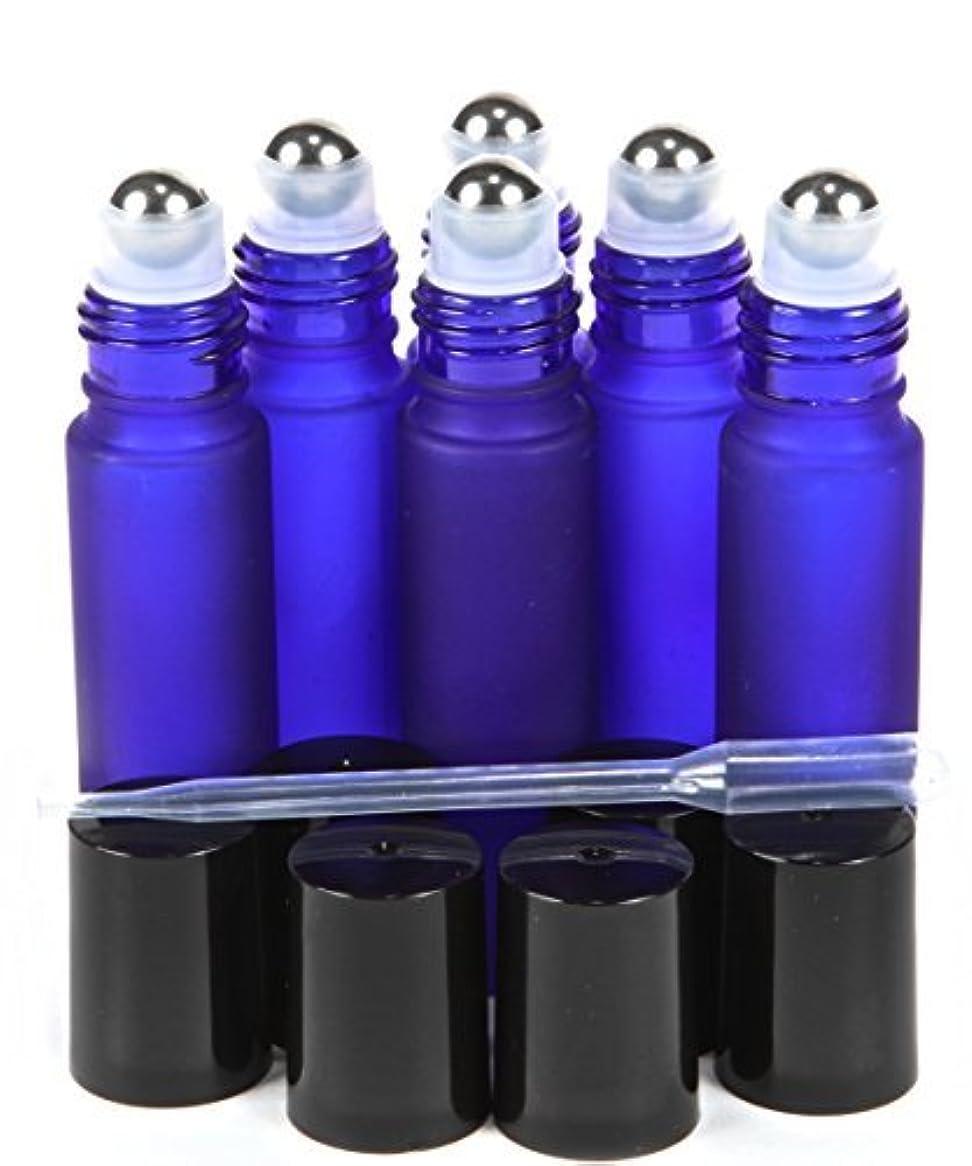 発揮するきれいに援助する6, Frosted, Cobalt Blue, 10 ml Glass Roll-on Bottles with Stainless Steel Roller Balls - .5 ml Dropper Included...