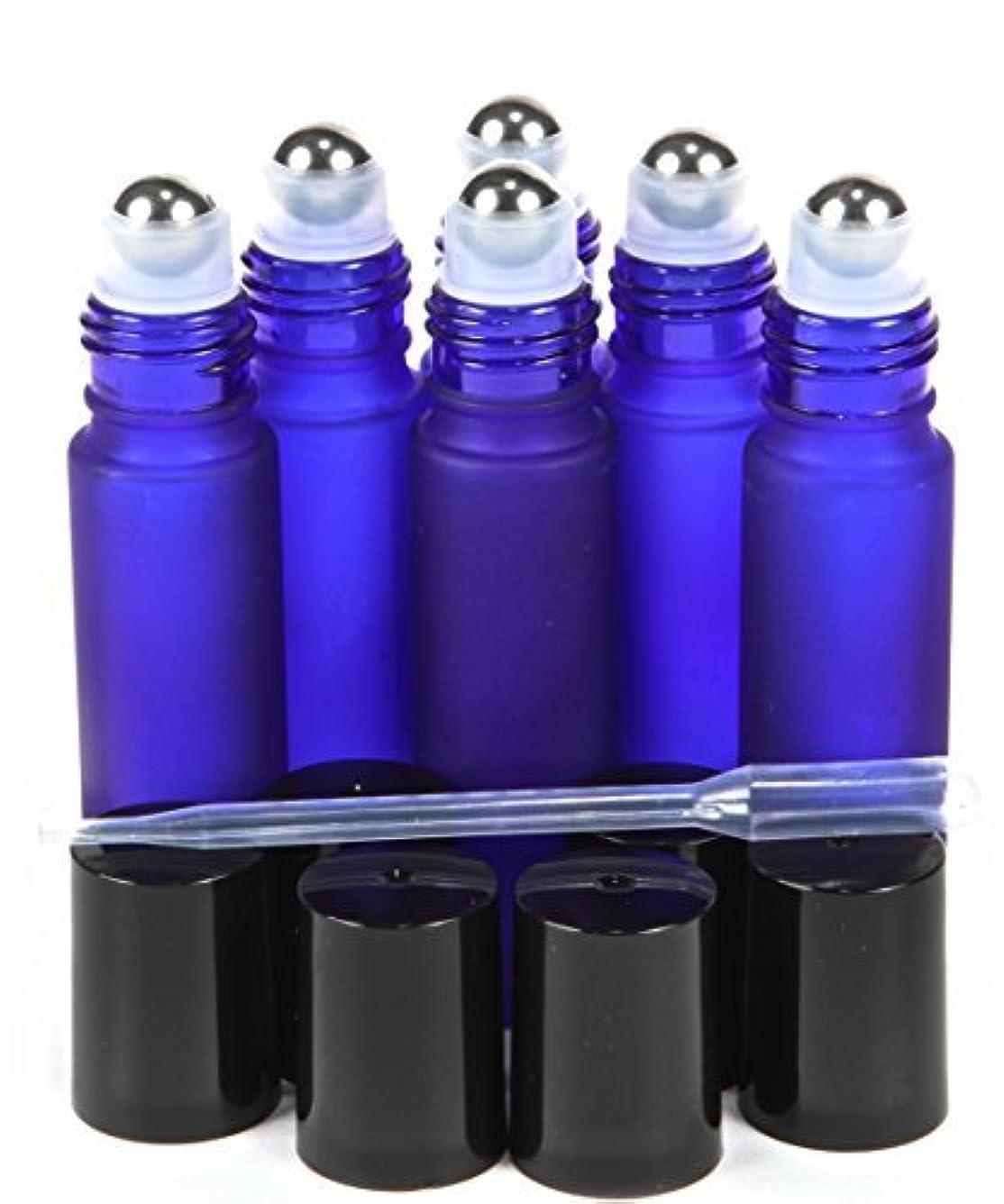 緊張する番号禁止する6, Frosted, Cobalt Blue, 10 ml Glass Roll-on Bottles with Stainless Steel Roller Balls - .5 ml Dropper Included...