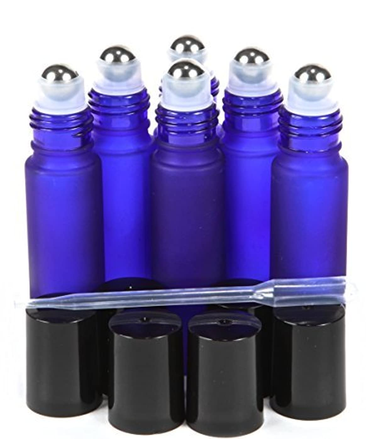 子供時代タオル剪断6, Frosted, Cobalt Blue, 10 ml Glass Roll-on Bottles with Stainless Steel Roller Balls - .5 ml Dropper Included [並行輸入品]