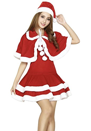 YOMI クリスマス フード コスプレ コスチューム 衣装 クリスマスサンタ サンタクロース コスプレ サンタ コスチューム レディース 3点セット (ショールセット)