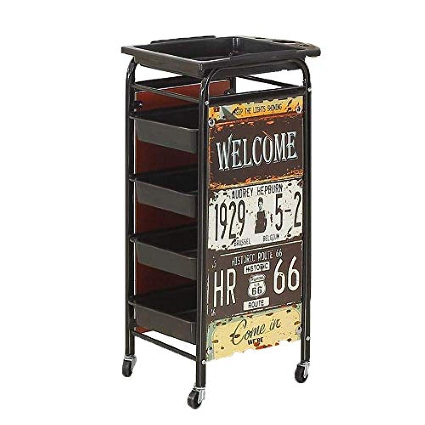 HIZLJJ 大広間の鉱泉の美容院5つの引出しが付いている圧延のトロリーカートヘアードライヤーサービス皿用具の貯蔵のカートヘアスタイリストの美の家具の貯蔵のための金属のヘアードライヤーのホールダーの車輪