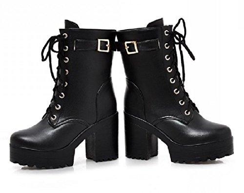 (ケージョイ) K-JOY 美脚 +11cm 厚底 ショート ブーツ(天使の羽セット) レディース ファッション コスプレ 厚底 ブーツ 通販F207-1 (42(26.0cm), ブラック)