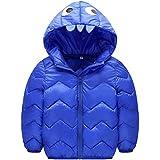 ARABOYO こども ダウンジャケット 化け物 目 歯 波柄 フードつき 綿入れ 暖かい かわいい ジャンバー コート 冬着 冬(2-33歳用)