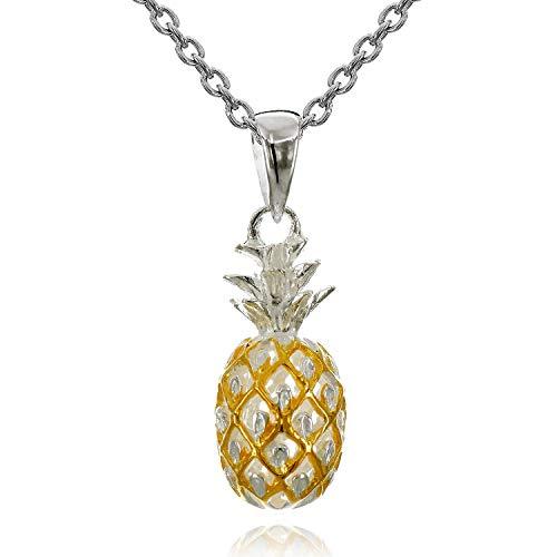 レイラニ ハワイアンジュエリー パイナップル ペンダント ネックレス シルバー 925(2トーンイエローゴールドコーティング)チェーン付