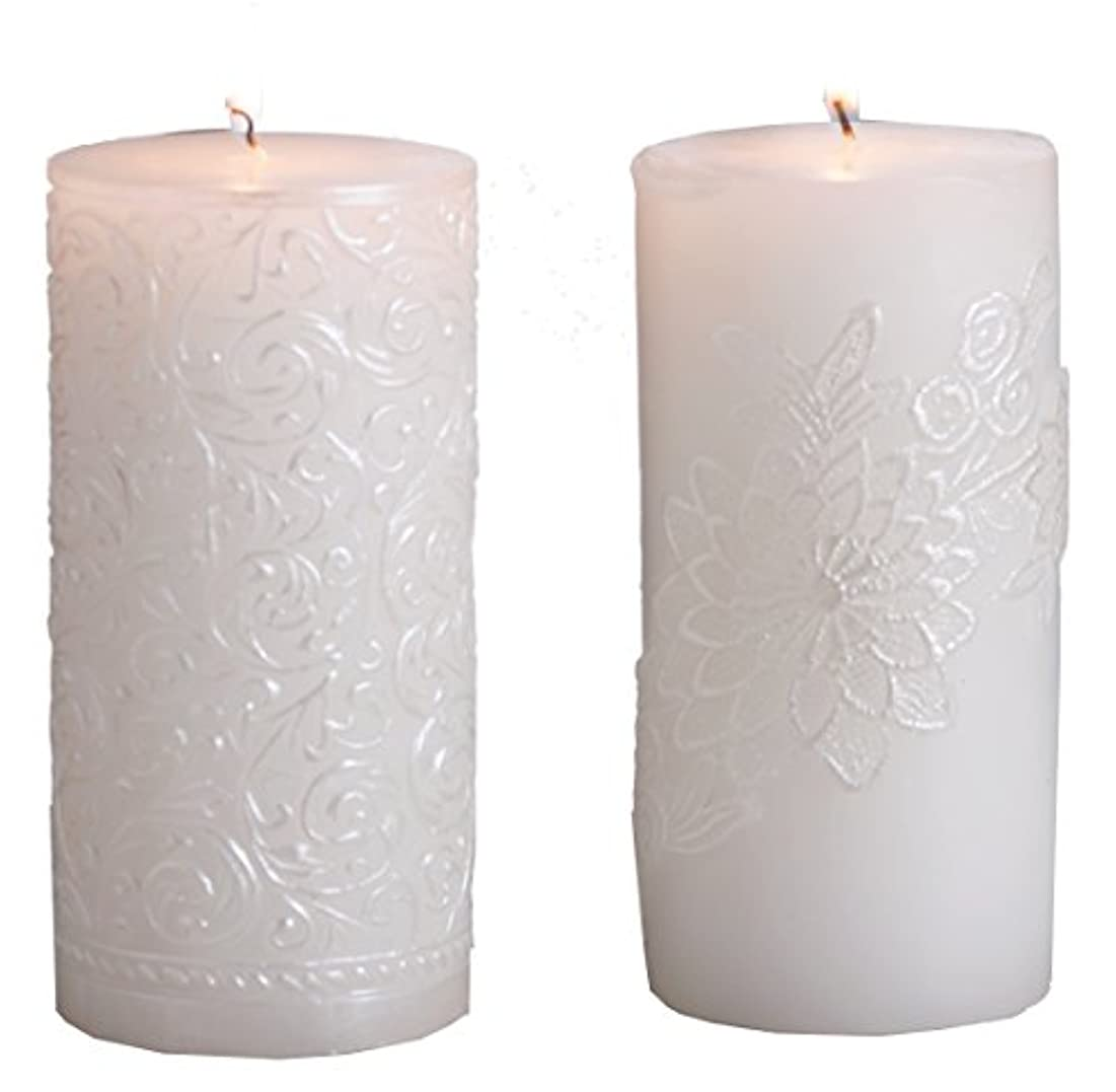 弁護士カレッジ耐久(Gold Brushed) - Biedermann & Sons White Pearl Pillar Candle, 7.6cm by 23cm, Gold Brushed