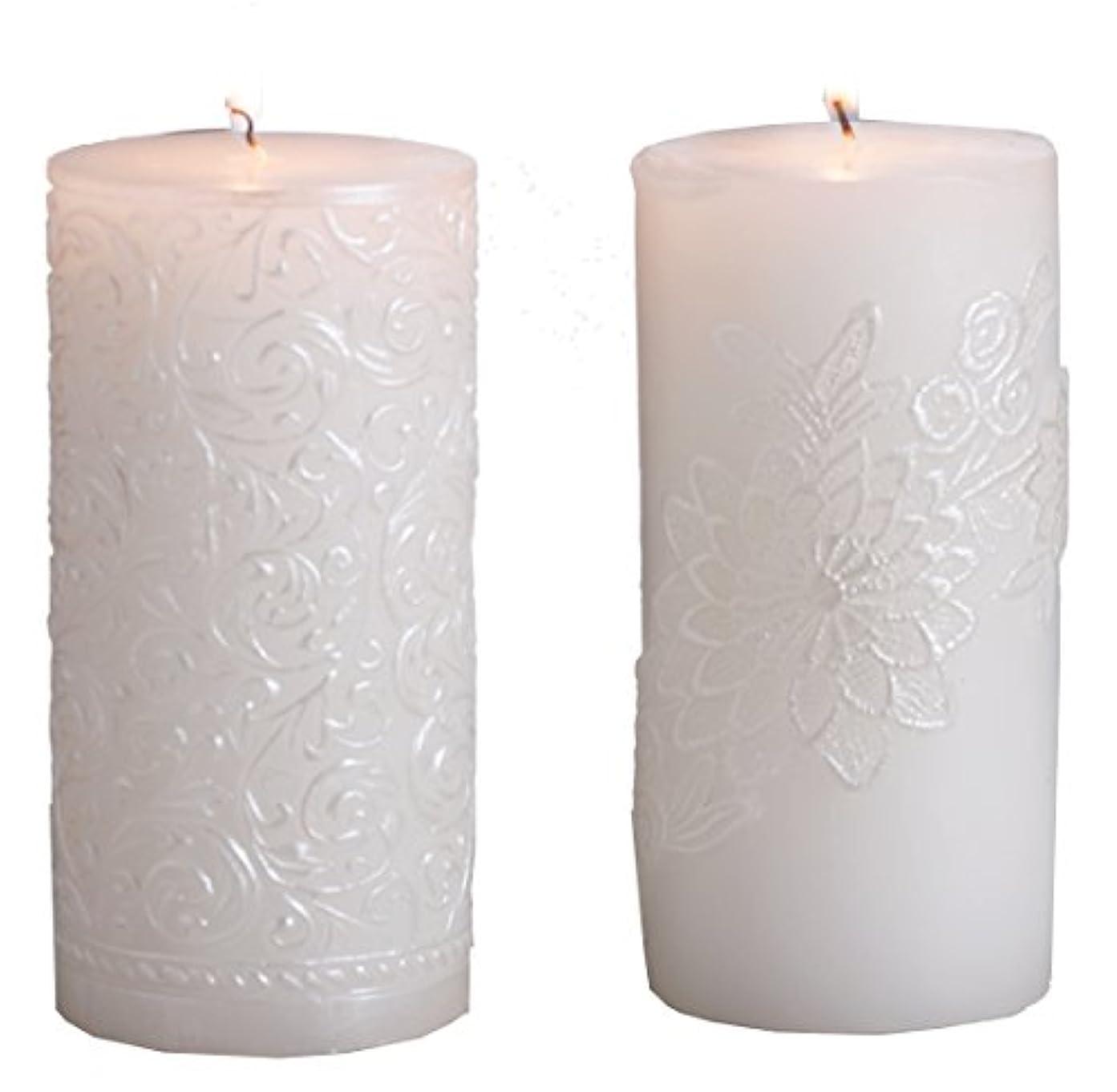 誘惑ラメ(Gold Brushed) - Biedermann & Sons White Pearl Pillar Candle, 7.6cm by 23cm, Gold Brushed