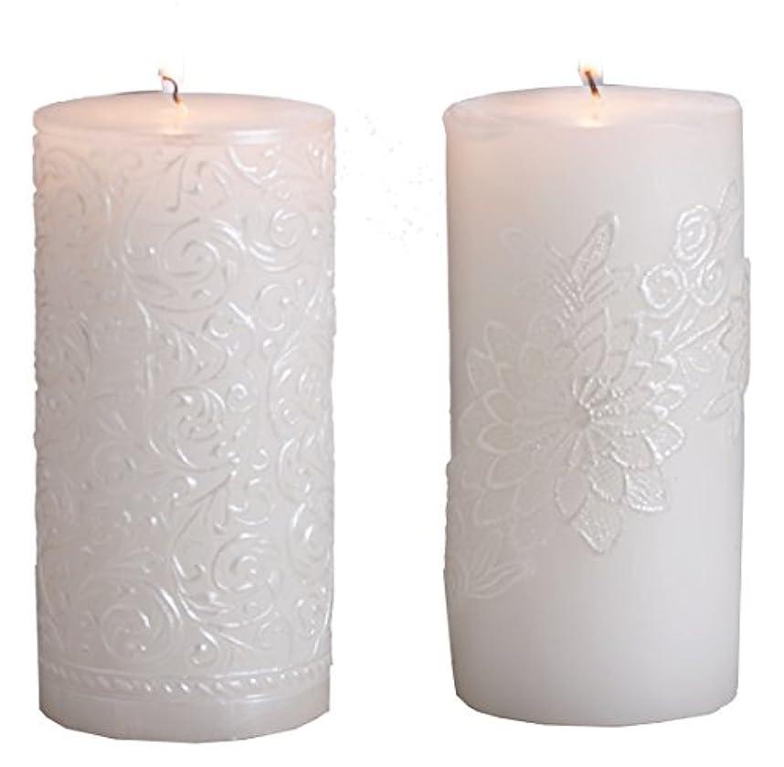 元気な記述する気づかない(Gold Brushed) - Biedermann & Sons White Pearl Pillar Candle, 7.6cm by 23cm, Gold Brushed