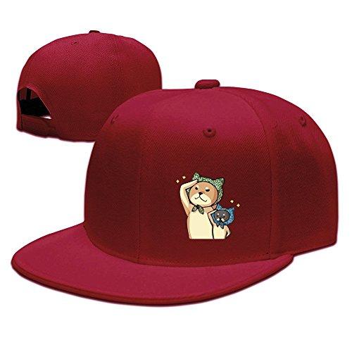柴犬まる 敬礼 ペット 可愛い 男女兼用 平らつば 野球帽 BBキャップ ヒップホップ キャップ オリジナル レッド