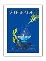 ヴィースバーデン - 古代の温泉街 - ビンテージ旅行ポスター によって作成された ラッティ・ウェルナー c.1960s -プレミアム290gsmジークレーアートプリント - 46cm x 61cm