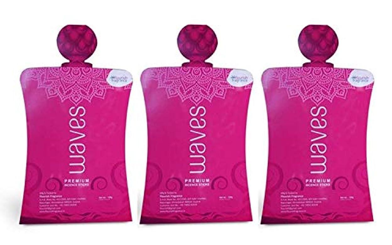 拍車顕著クラックポットFLORISH FRAGRANCE Waves Pink Incense Sticks Pack of 3 (140 Gm Each)