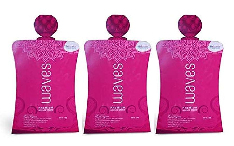 祈り義務文句を言うFLORISH FRAGRANCE Waves Pink Incense Sticks Pack of 3 (140 Gm Each)