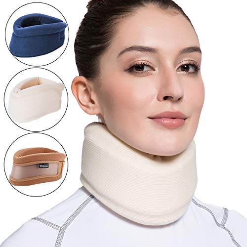 Velpeau 首サポーター 首枕 頸椎保護 首コルセット 首の痛み 固定感 ソフト 就寝 家庭用 仕事 旅行 男女兼用(強化バージョン、ミルキーホワイト、Large)