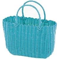バッグ PP バスケット 買い物 小物入れ ブルー 約37.5×16.5×23.5(37)cm 91-10BL