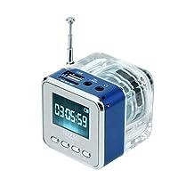 億騰 ポータブルLEDディスプレイミニスピーカー USBフラッシュドライブ FMラジオとTFカード MP3 Player 外部スピーカー TT-028 (ブルー)