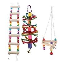 P Prettyia 鳥のおもちゃ 止まり木 吊下げタイプ玩具 噛む玩具 スイング はしご ケージ飾り 運動不足 3個