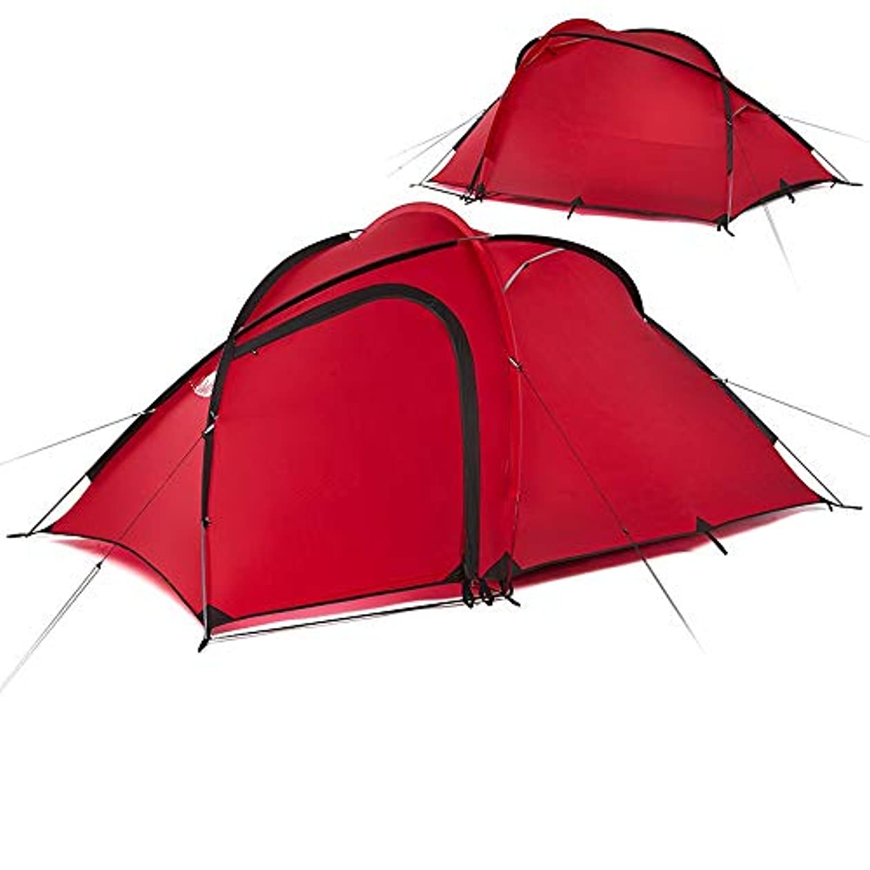 内陸希少性中級2人3人紫外線カット防水軽量テント三日月ドームテント (Color : レッド, Size : One Size)