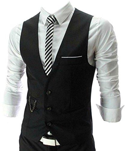 【Jo Marino】 メンズ 人気ブランド メンズ ジレ ベスト スリム フィット スーツサイズ 対応 (M,L,XL,XXL,XXL) (M, BLACK)
