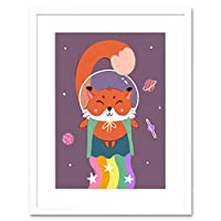 Fox Astronaut Art Print Framed Poster Wall Decor 9x7 inch ポスター壁デコ