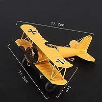 LULAA 復古飛行機 モデル ドイツ 双翼飛行機 レトロ飛行機 金属鉄製 飛行機模型 装飾 飾り 置物 インテリア おもちゃ 雑貨 オフィス装飾 レッド ブルー 黄色