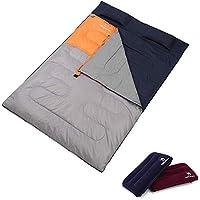 寝袋 CAMEL CROWN [キャメル] シュラフ 封筒型 2人用 連結可能 防水 超軽量 スリーピングバッグ 丸洗いok アウトドア 車中泊 防災用 快適使用温度5-15度 枕二つ付き 収納パック付